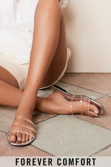 Silver Forever Comfort® Clear Strap Mules