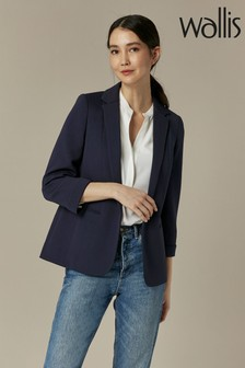 Wallis Navy Ribbed Blazer