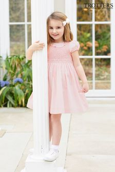 Trotters London Pink Willow Rose Hand Smocked Dress