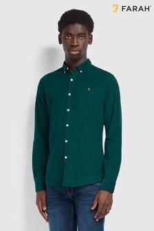 Farah Green Fontella Cord Long Sleeved Slim Fit Shirt