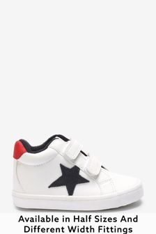 White Wide Fit (G) Star Warm Lined Touch Fastening Boots