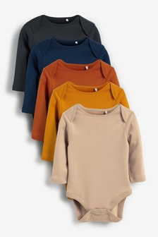 Tan 5 Pack Long Sleeve Bodysuits (0mths-3yrs)