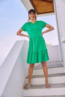 Green Tiered Jersey Dress