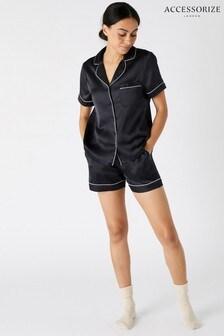 Accessorize Black Satin Shirt And Shorts Pyjama Set