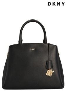 DKNY Black Paige Large Leather Satchel