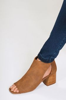 Tan Stacked Heel Forever Comfort® Low Cut-Out Shoe Boots