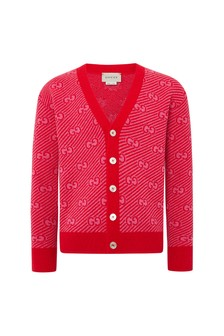 Unisex Red Wool Cardigan
