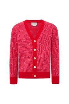Boys Red Wool Cardigan