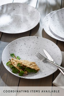 Set of 4 Terrazzo Effect Melamine Dinner Plates