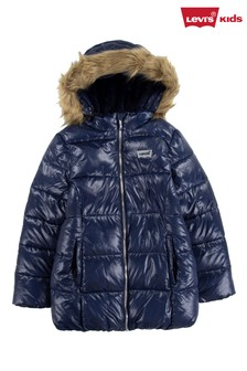 Levi's Navy Logo with Faux Fur Trim Hooded Puffer Jacket