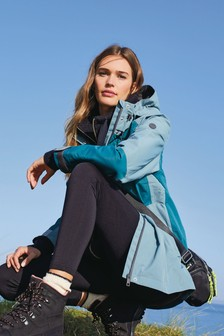Teal Colourblock Waterproof Jacket