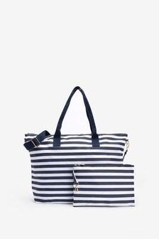 Navy/White Fold-Away Beach Bag