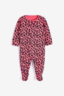 Pink Leopard Zip Single Printed Sleepsuit (0-2yrs)