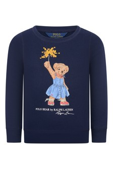 Girls Navy Cotton Bear Sweater