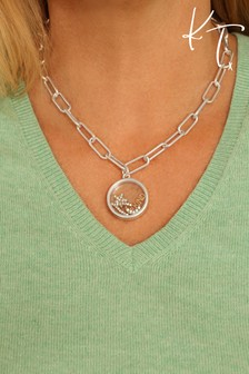 Kate Thornton Silver 'Be Kind' Floating Locket Necklace