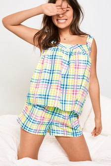 Rainbow Check Woven Short Set