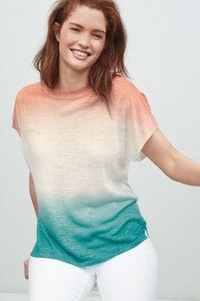 Linen Ombre Crew Neck Split Sleeve T-Shirt