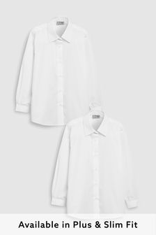 White 2 Pack Long Sleeve Formal Shirts (3-17yrs)