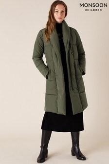 Monsoon Green Eddie Sustainable Long Padded Coat