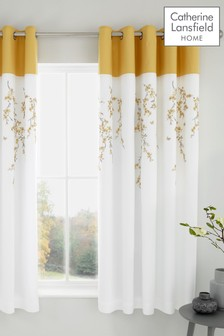 Embroidered Blossom Floral Lined Eyelet Curtains by Catherine Lansfield
