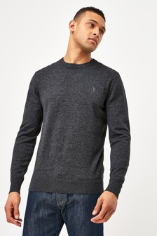 Charcoal With Stag Embroidery Crew Neck Cotton Rich Jumper