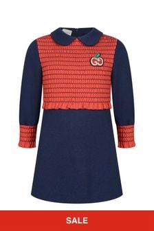 فستان جيرسيه أزرق بناتي