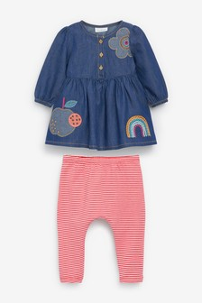 Denim Appliqué Dress And Stripe Leggings Set (0mths-2yrs)
