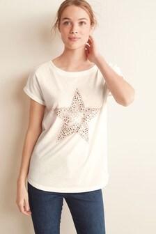 White Studded Star Curved Hem T-Shirt