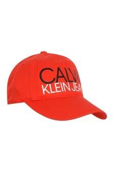 Calvin Klein Jeans Kids Red Cotton Logo Cap