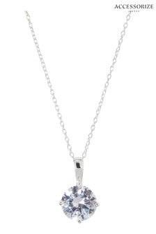 Accessorize White Round Cut Solitaire Necklace