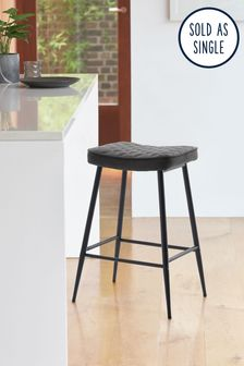Monza Faux Leather Grey Hamilton Bar Stool With Black Legs