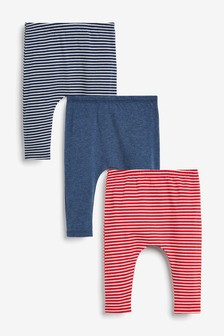 Red/Blue 3 Pack Stripe Leggings With Stretch (0mths-3yrs)