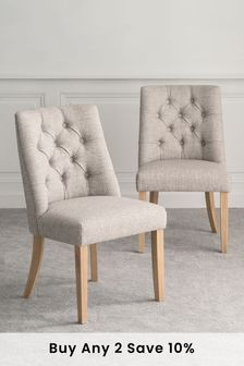 Chunky Weave Mid Natural Set of 2 Wolton Button Dining Chairs With Natural Legs