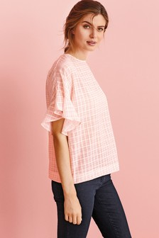 Pink Gingham  Frill Sleeve Top