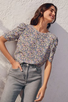 Lilac Ditsy Puff Sleeve Top