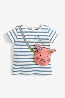 Blue Stripe Interactive Bunny T-Shirt (3mths-7yrs)