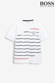 BOSS White Technical Stripe Logo T-Shirt