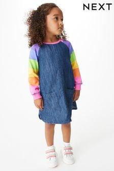 Bright Stripe Rainbow Raglan Denim Dress (3mths-7yrs)