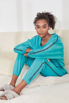 Teal Side Stripe Cotton Blend Pyjamas