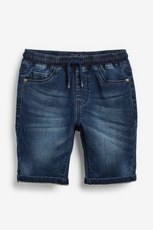 Dark Blue Jersey Denim Shorts (3-16yrs)