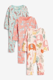 Pink Character 3 Pack Character Footless Sleepsuits (0mths-3yrs)
