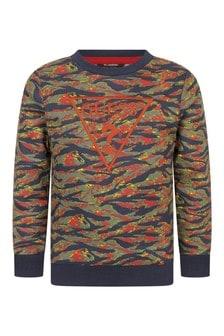Boys Mystic Tiger Print Cotton Sweater