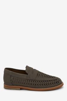 Grey Leather Woven Loafers