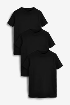 Black 3 Pack GOTS Organic Rib T-Shirts (1.5-16yrs)