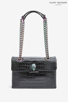 Kurt Geiger London Black Croc Kensington Bag