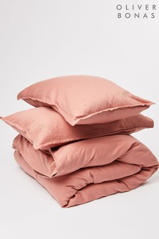Oliver Bonas Estella Pink Embroidered Double Duvet Cover and Pillowcase Set