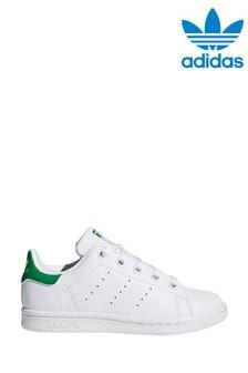 adidas Originals White/Green Stan Smith Junior Trainers