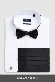 White Regular Fit Double Cuff Wing Collared Shirt With Bow Tie, Cummerbund And Cufflinks