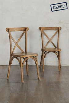 Mid Brown Set Of 2 Bistro Dining Chairs