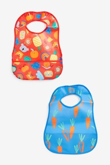 Red/Blue 2 Pack Character Vegetable PU Bibs